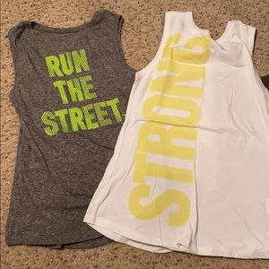 2 workout tanks grey and white